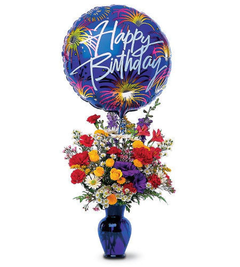 Bright Flowers And A Mylar Happy Birthday Balloon