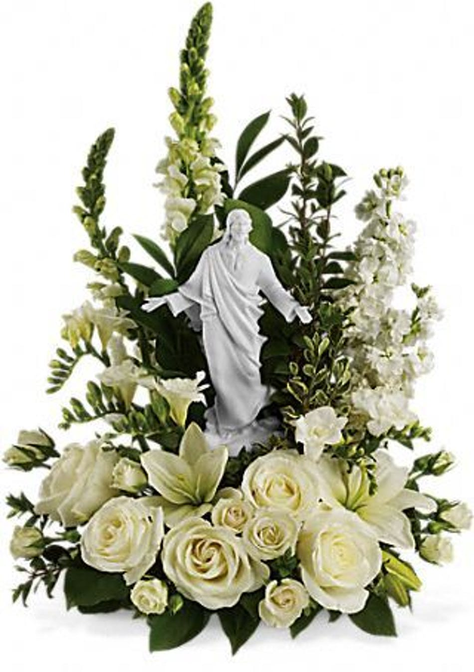 Garden of serenity bouquet keepsake sympathy statue sympathy bouquet of all white flowers and a porcelain jesus statue izmirmasajfo