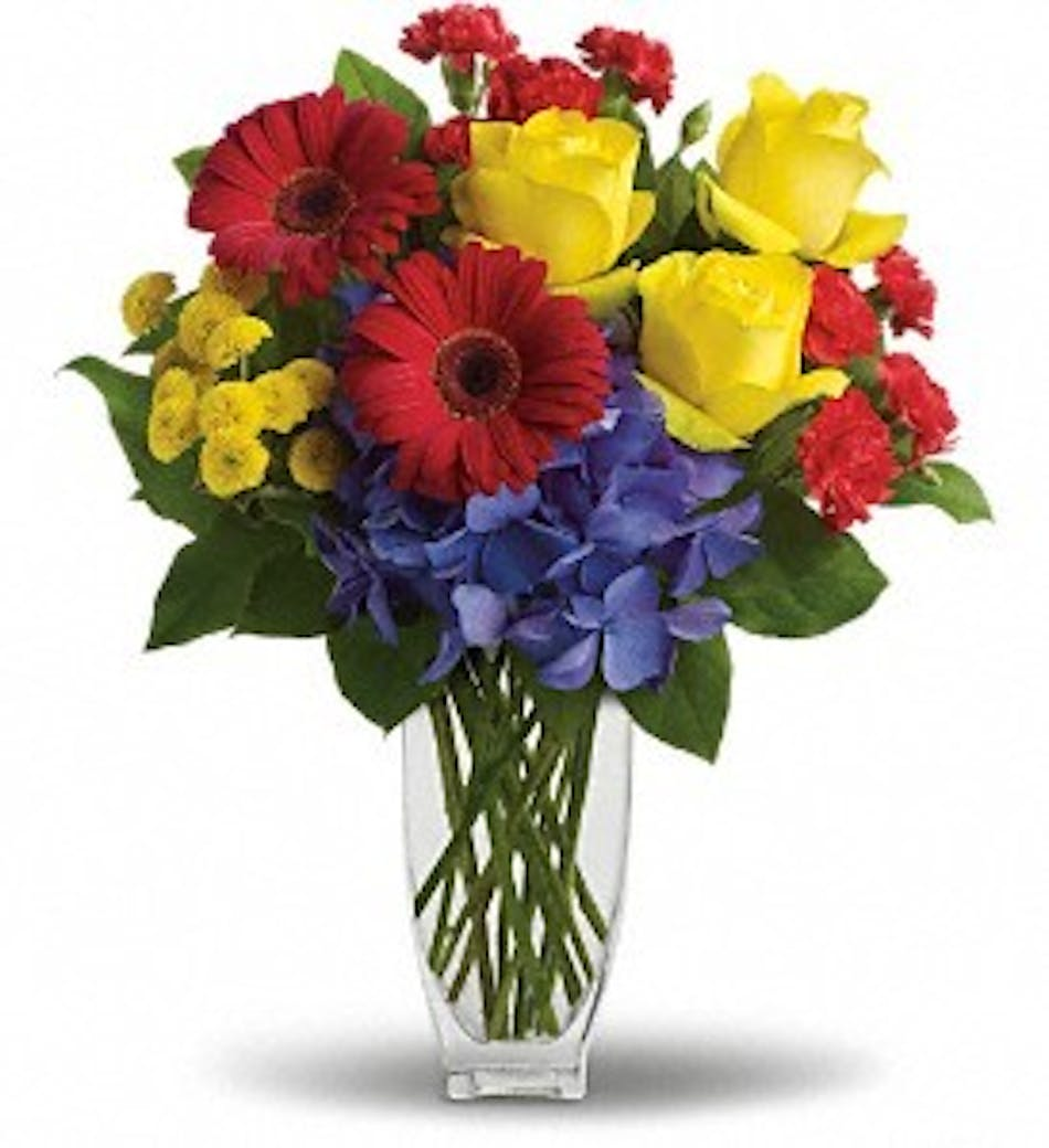 Heres to you celebration flowers kittelberger florist ny blue hydrangea yellow roses red gerberas and miniature carnations and yellow button spray izmirmasajfo