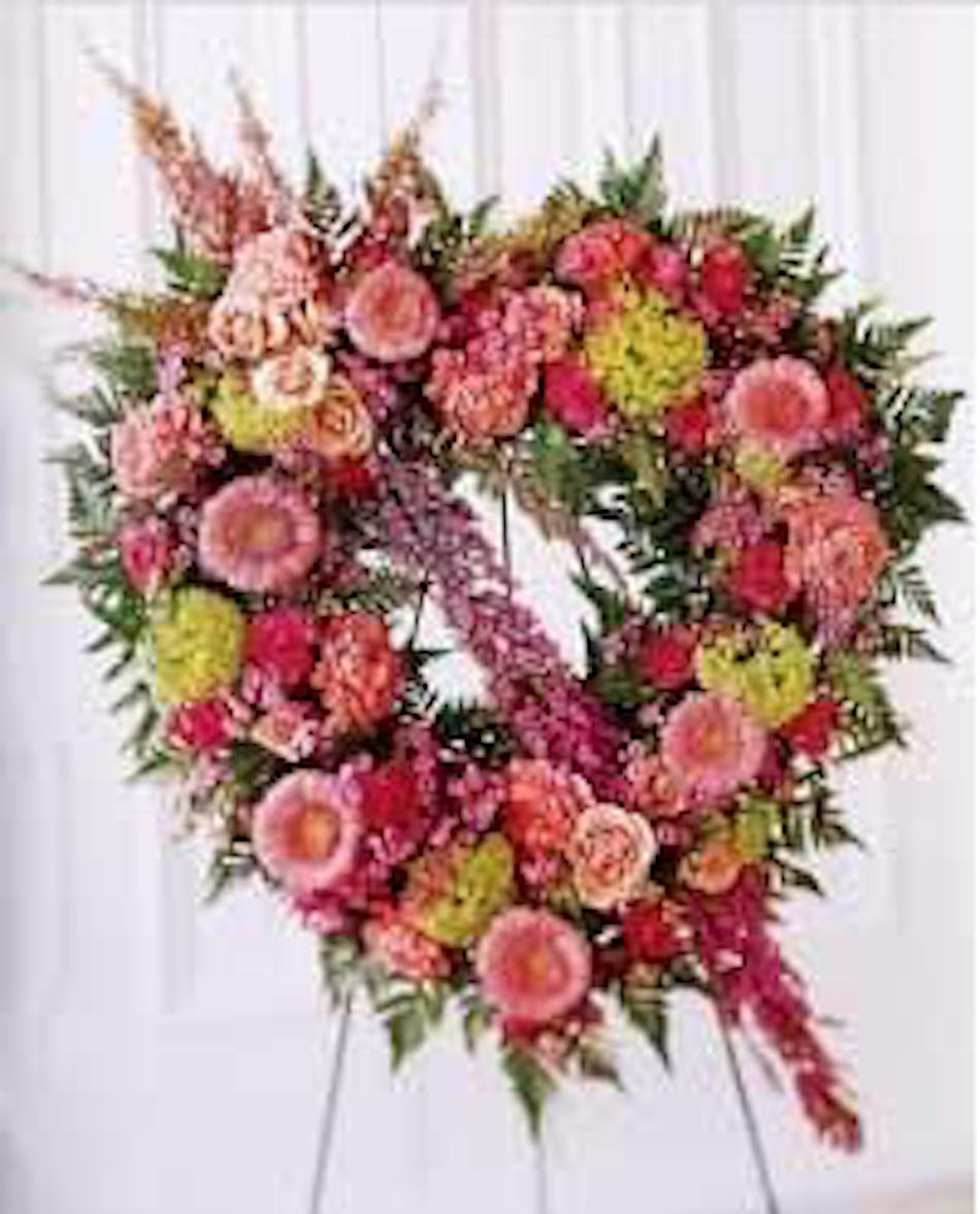 Pastel Standing Sympathy Heart Funeral Flowers
