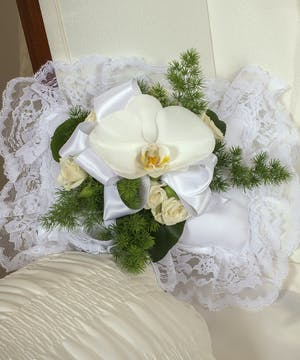Elegant White Satin Pillow