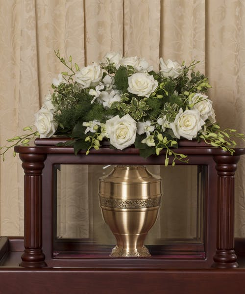 Elegant White Urn Cover