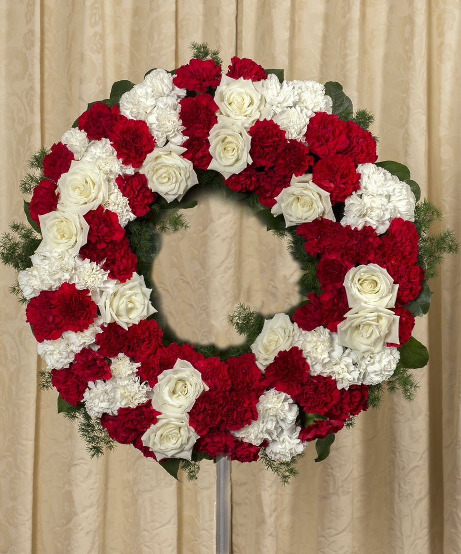 Red White Traditional Funeral Wreath Kittelberger Florist