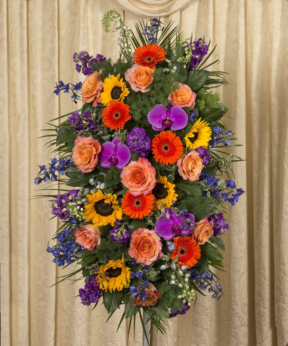 Vibrant Spanding Spray Ny Funeral Flowers