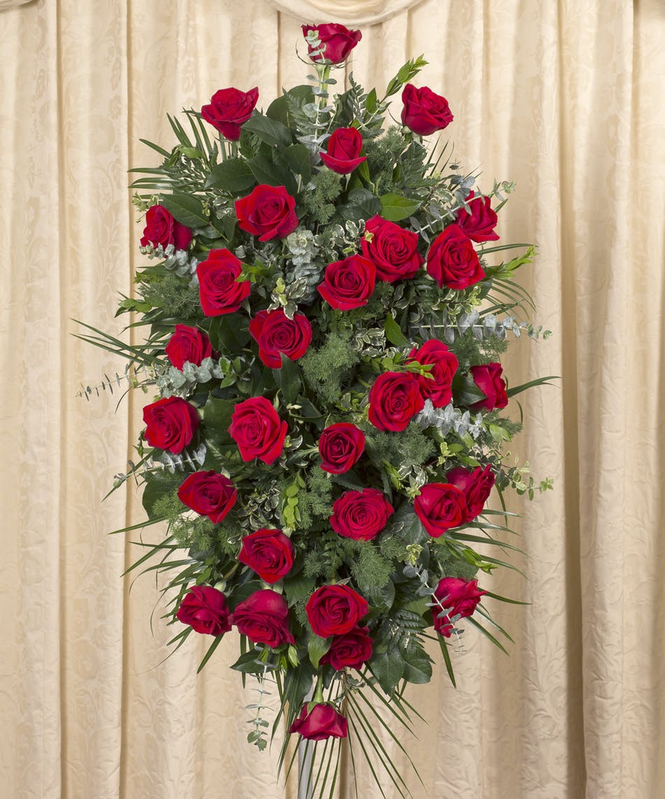 Red Rose Standing Spray | NY Funeral Flower Delivery