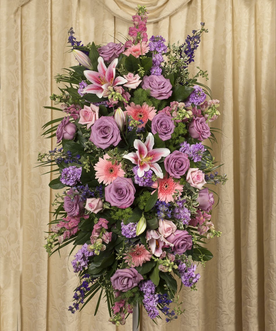 Soft Colored Standing Spray Rochester Funeral Flowers