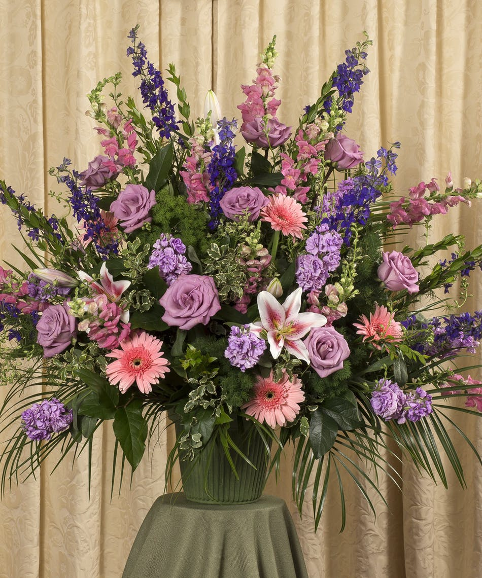 Pink Purple Funeral Flower Arrangement For Delivery