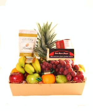 Basket filled with fruit.