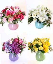 Four monochromatic flower arrangements each in a matching vase.
