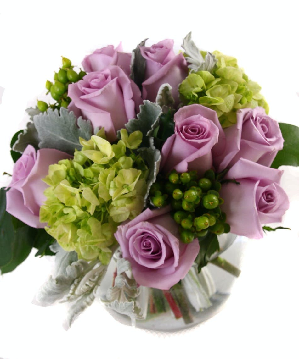 Lavender elegance rochester ny flower delivery lavender and green flowers in a glass bubble vase izmirmasajfo