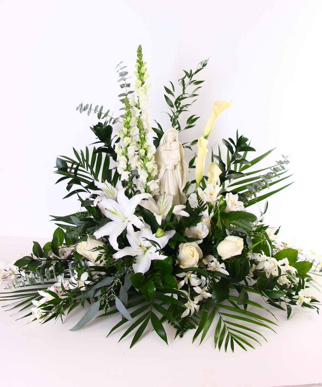 In blessed memory all white funeral flower arrangement izmirmasajfo