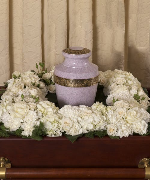 Elegant White Square Urn Wreath
