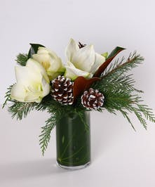 Holiday bouquet of white amaryllis, magnolia leaves and winter foliage in a leaf-lined vase