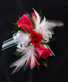 Hot Pink Sweetheart Corsage With White Feathers