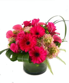 Leaf-lined vase contains hot pink roses, calla lilies and gerbera daisies with hydrange and mixed foliage.