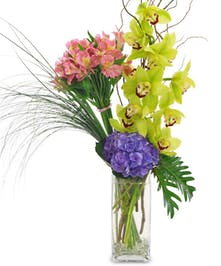 Orchids, hydrangea and alstroemeria in a clear glass vase.