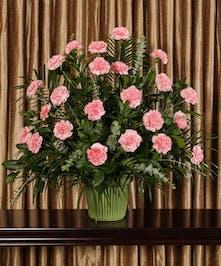 Funeral arrangement of pink carnations.