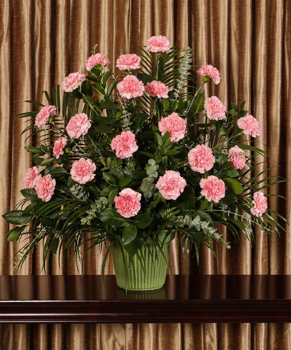 Pink carnation funeral arrangement kittelberger florist izmirmasajfo