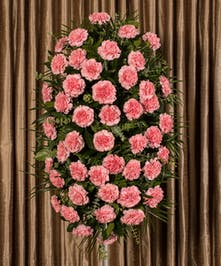 Sympathy spray of pink carnations and greenery.