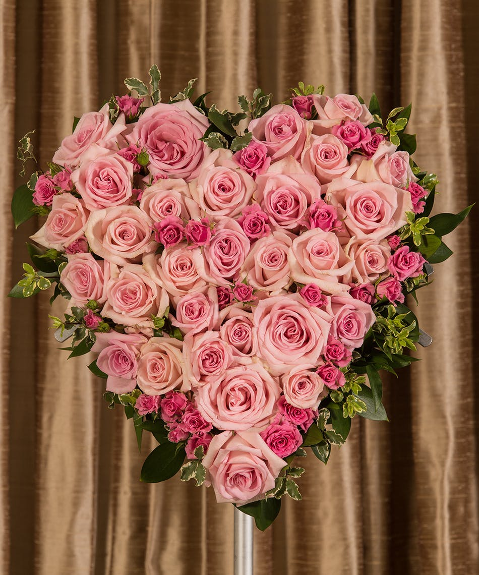 Pink Rose Heart   Rochester Sympathy Flowers