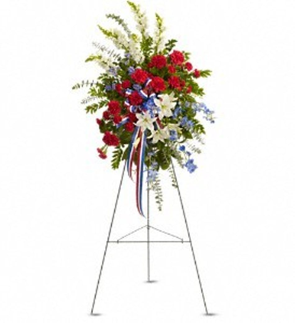 Sacred duty funeral spray patriotic flowers for delivery available for nationwide delivery izmirmasajfo
