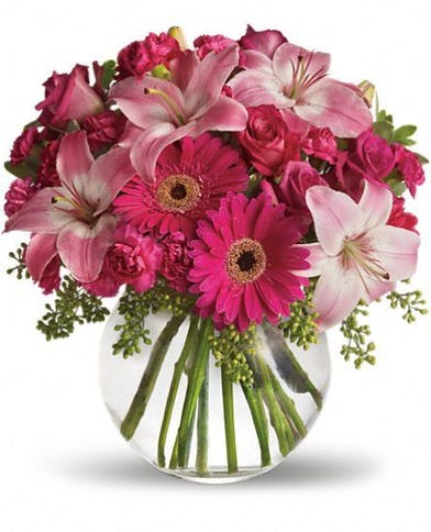 Pink Roses Lilies Daisies And Carnations In A Gl Bubble Bowl Vase