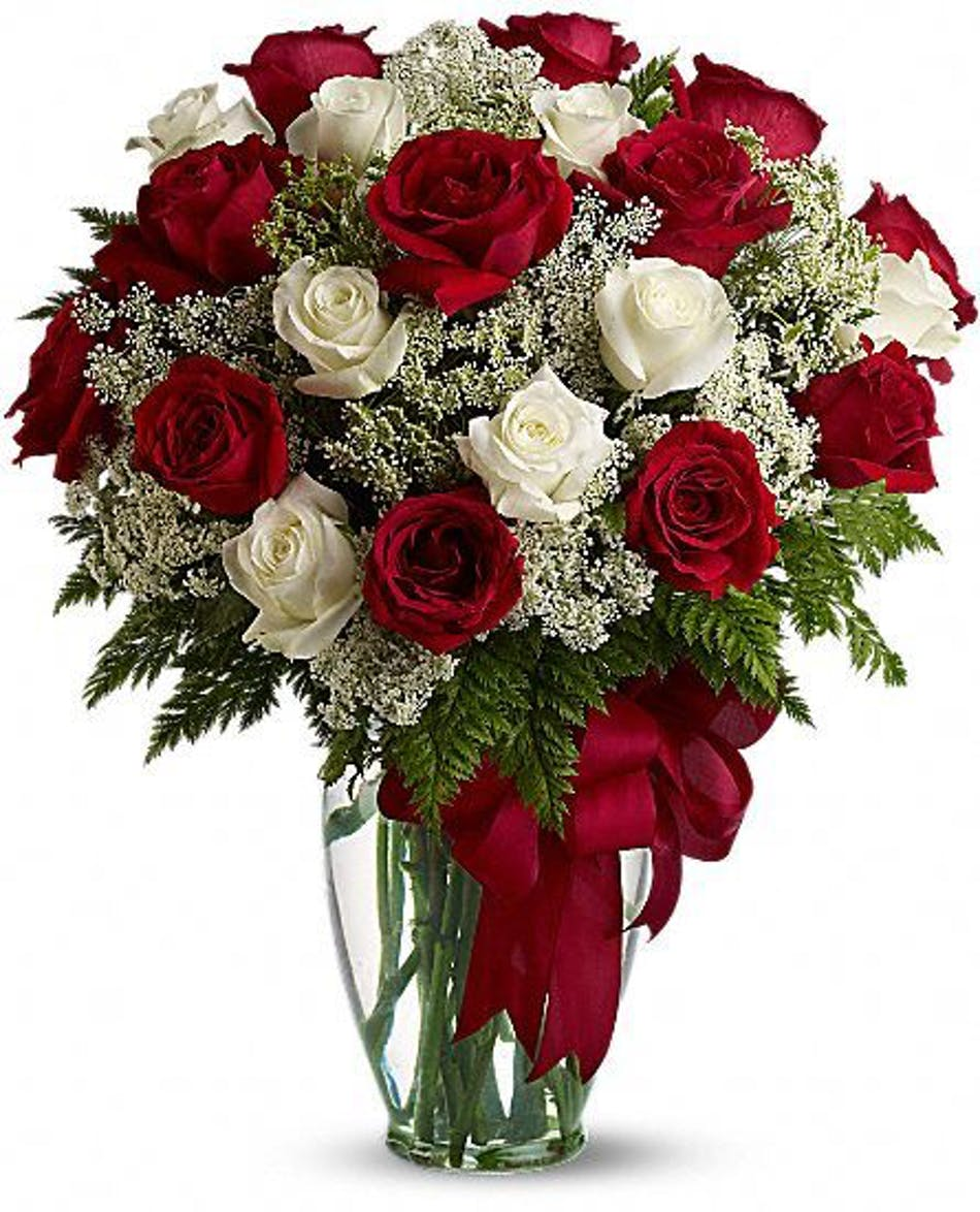 Loves divine rose bouquet kittelberger florist red and white roses with queen annes lace in a clear glass vase with a ribbon izmirmasajfo