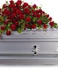 Red Rose Reverence Casket Spray