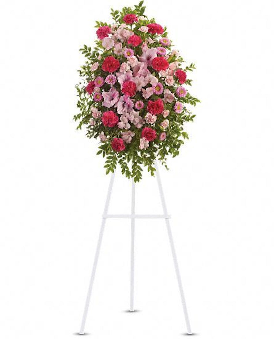 Pink tribute spray rochester same day funeral flowers izmirmasajfo