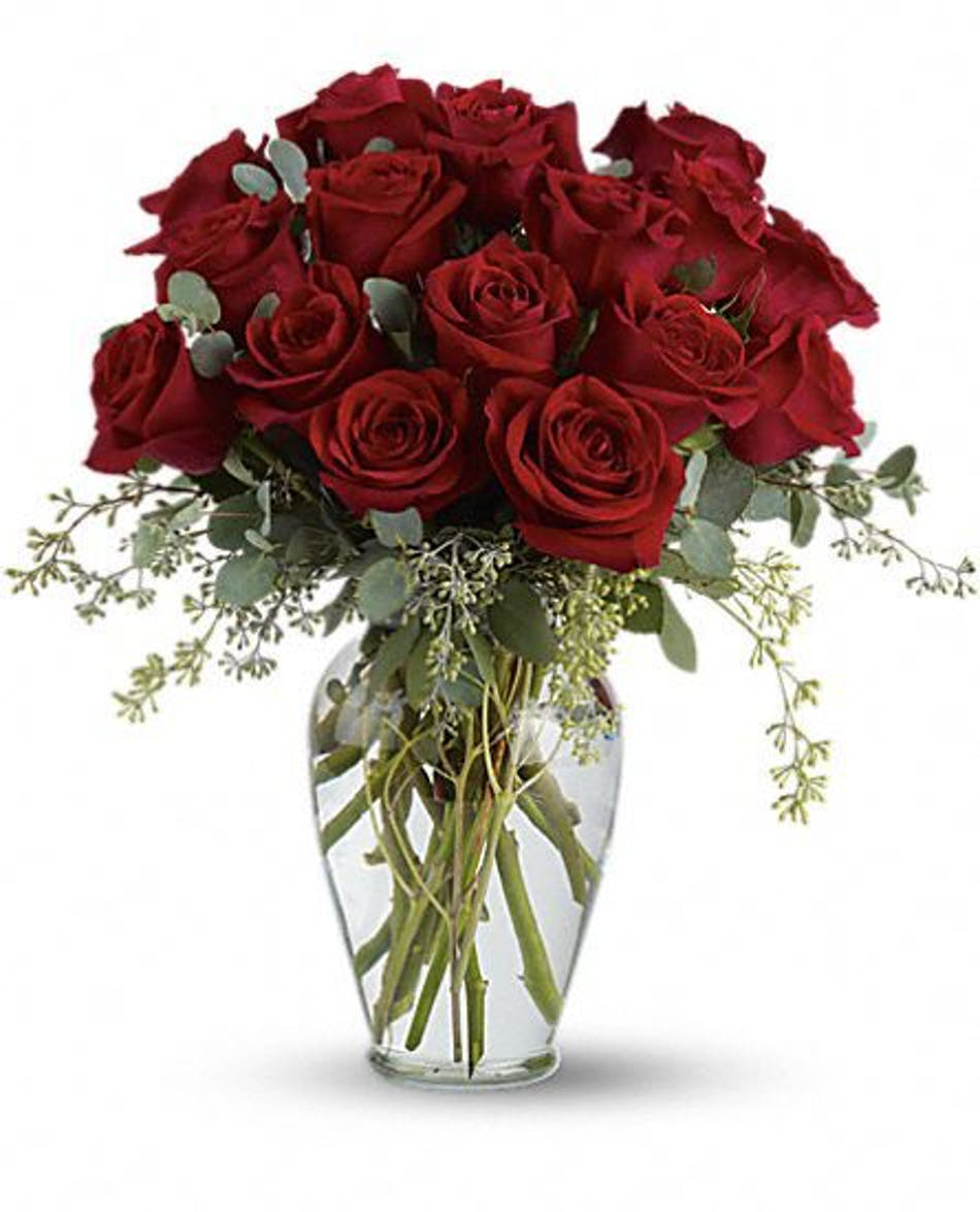 Sixteen roses any color rochester rose delivery sixteen red roses in a clear glass vase izmirmasajfo