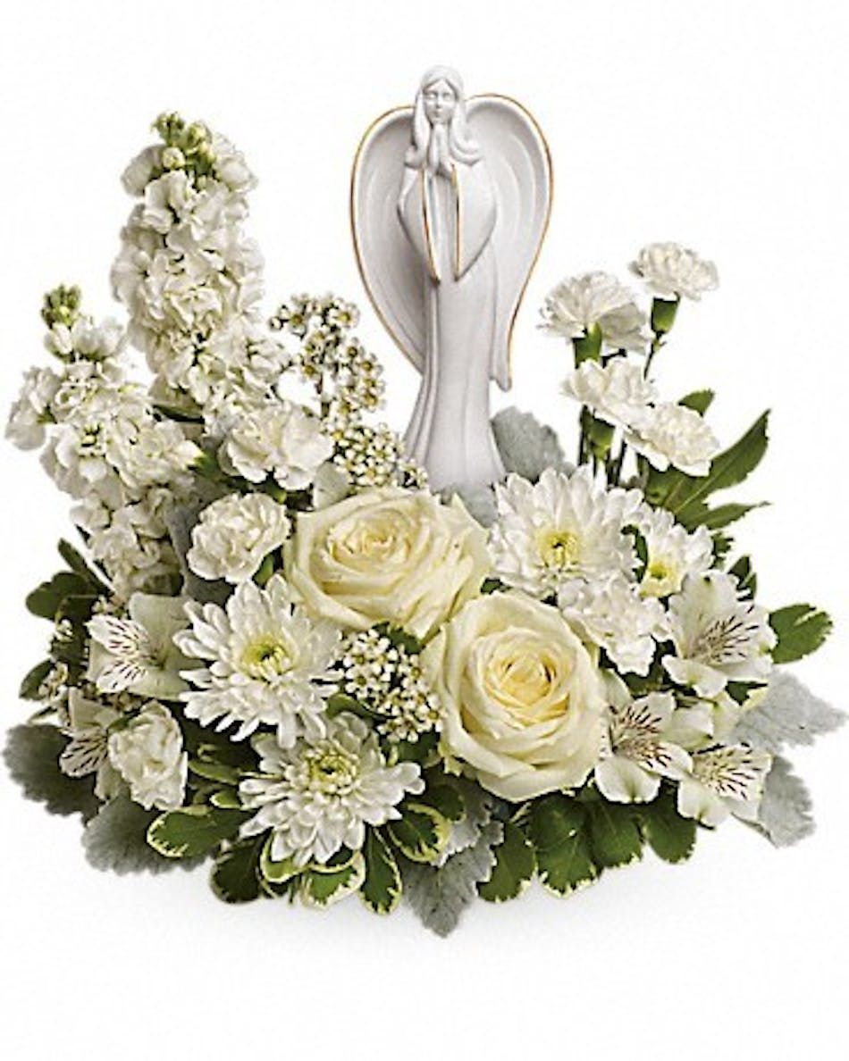 Guiding light sympathy flowers rochester ny delivery white roses alstroemeria and stock surrounds a keepsake angel sculpture mightylinksfo