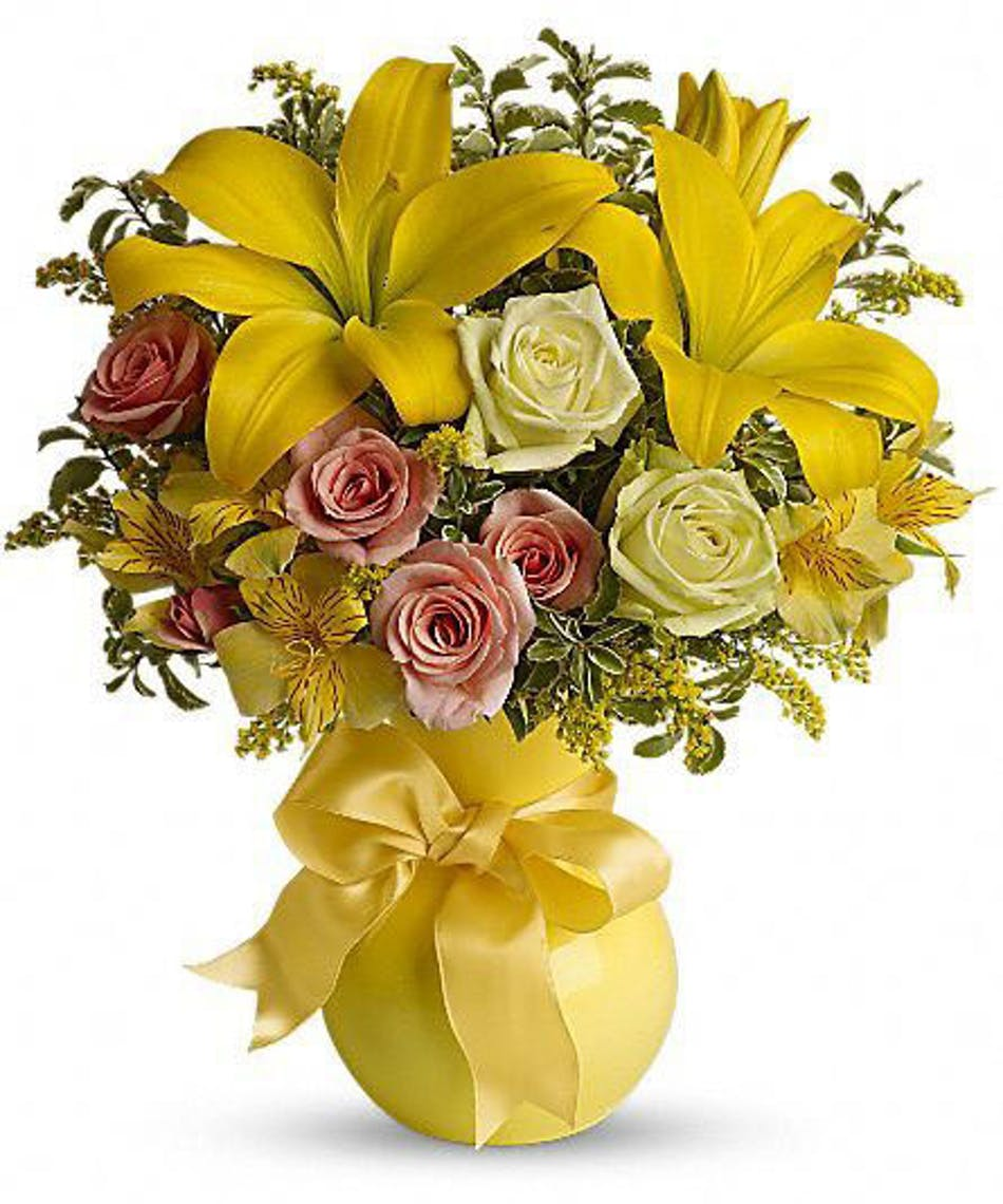 Sunny smiles yellow flower bouquet webster florist bouquet of yellow flowers in a yellow vase tied with yellow ribbon izmirmasajfo