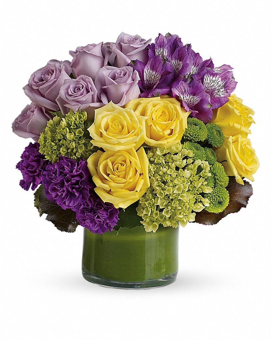 Simply splendid kittelberger florist rochester ny yellow purple and green flowers in a green cylinder vase izmirmasajfo