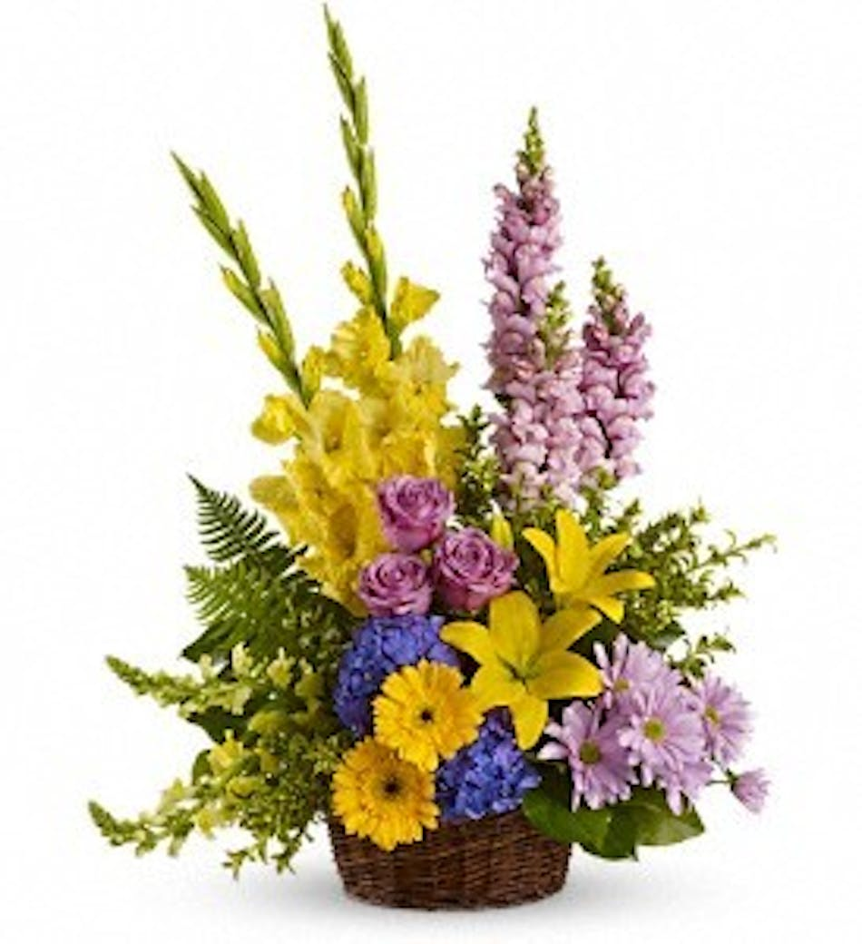 Loves tapestry kittelberger florist flower delivery sympathy basket of bright yellow lavender and blue flowers izmirmasajfo
