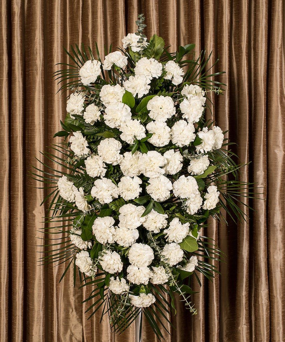 White carnation standing spray funeral flowers ny izmirmasajfo