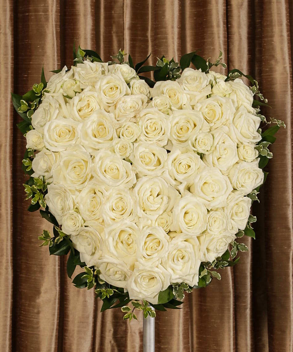 White Rose Heart Rochester Ny Funeral Flower Delivery