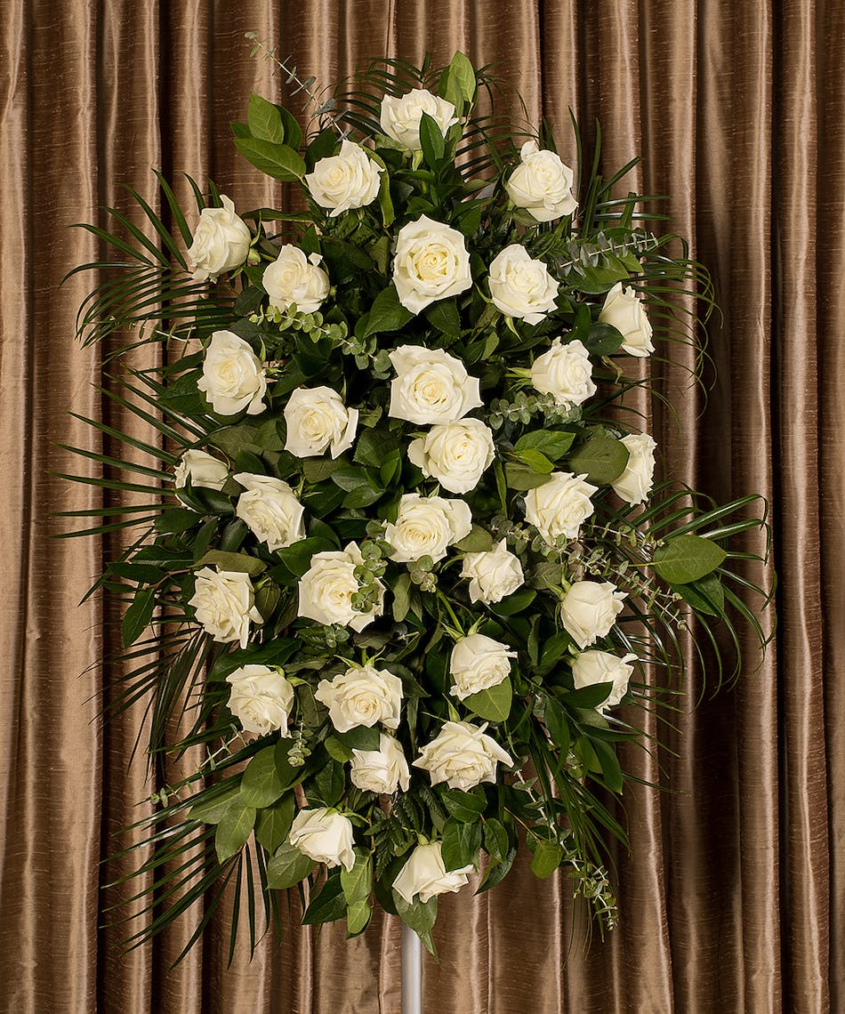 White Rose Standing Funeral Spray Arrangement Flowers