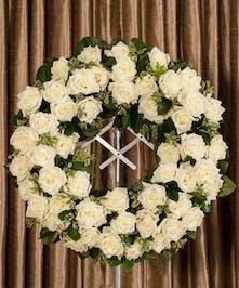 Sympathy wreath of white roses.