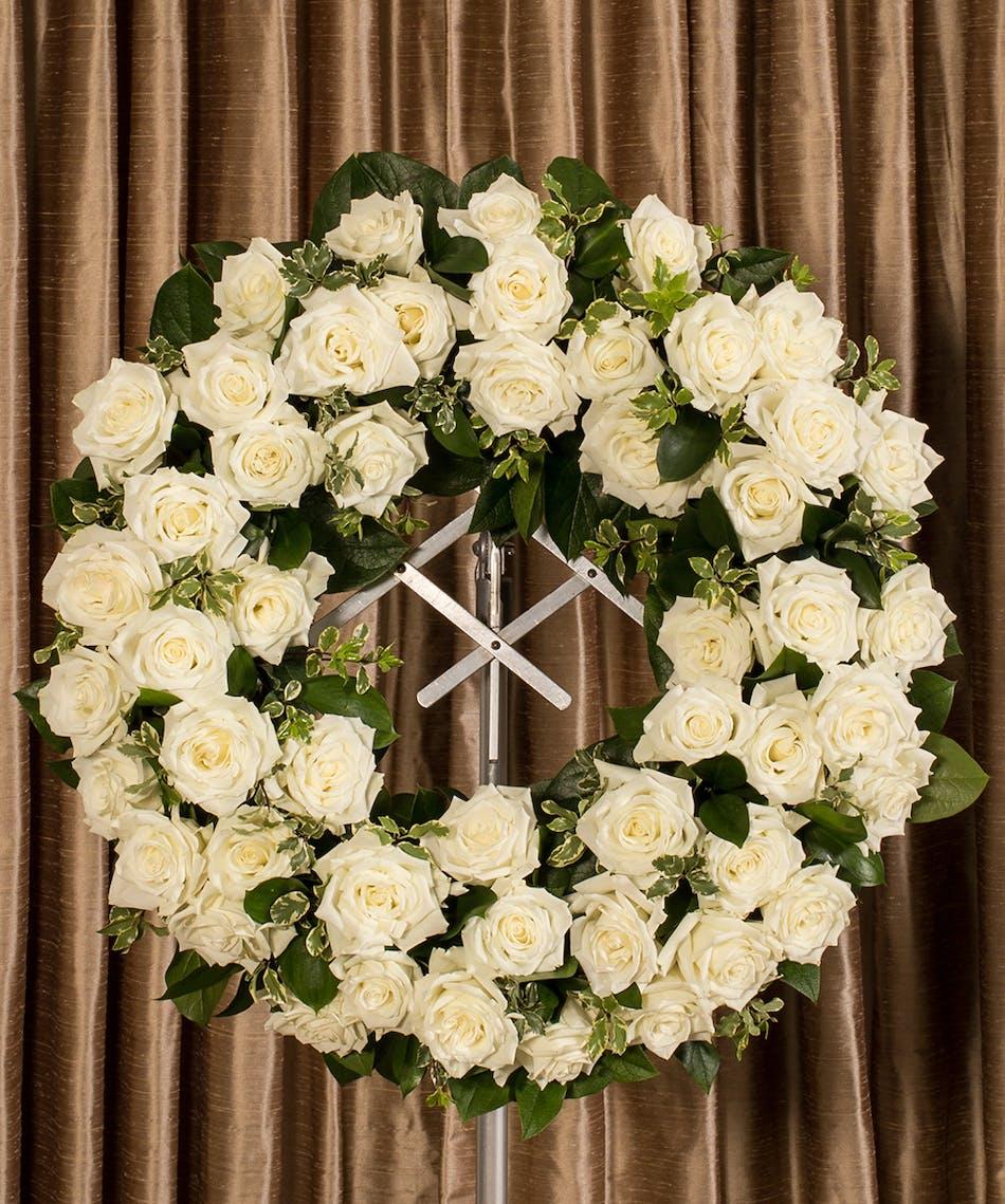 White Rose Memorial Wreath Kittelberger Florist Ny