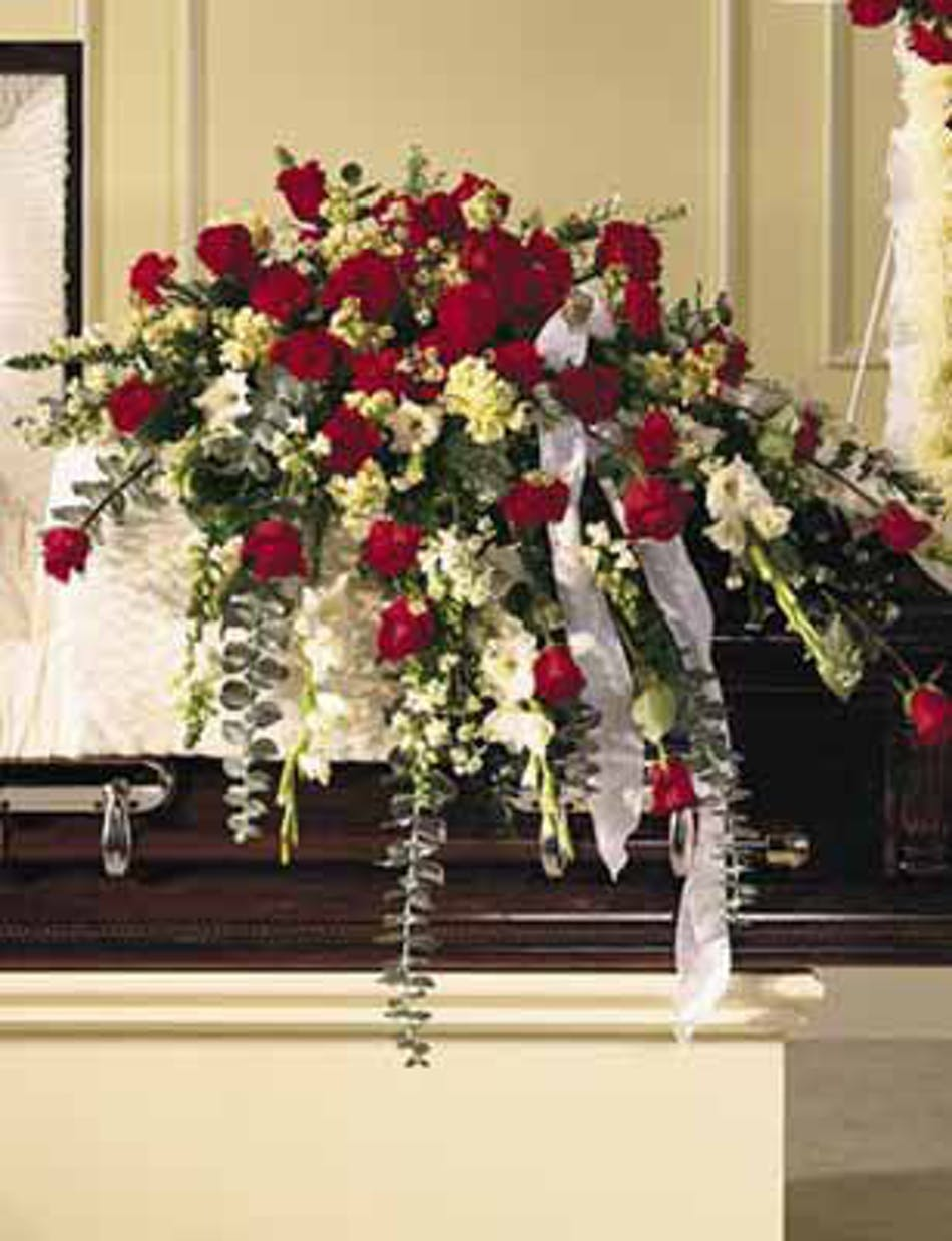 Sympathy casket spray in red white ny funeral flowers available for nationwide delivery izmirmasajfo
