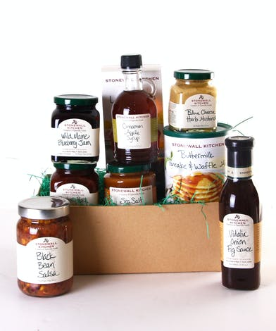 Basket filled with goodies from Stonewall Kitchen: sauces, mixes and dips included.