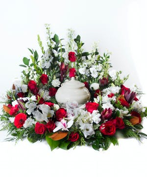 Red and White Urn Display