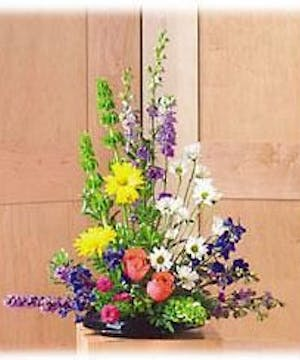 Sympathy arrangement of roses, daisies, bells of Ireland, liatris and more.