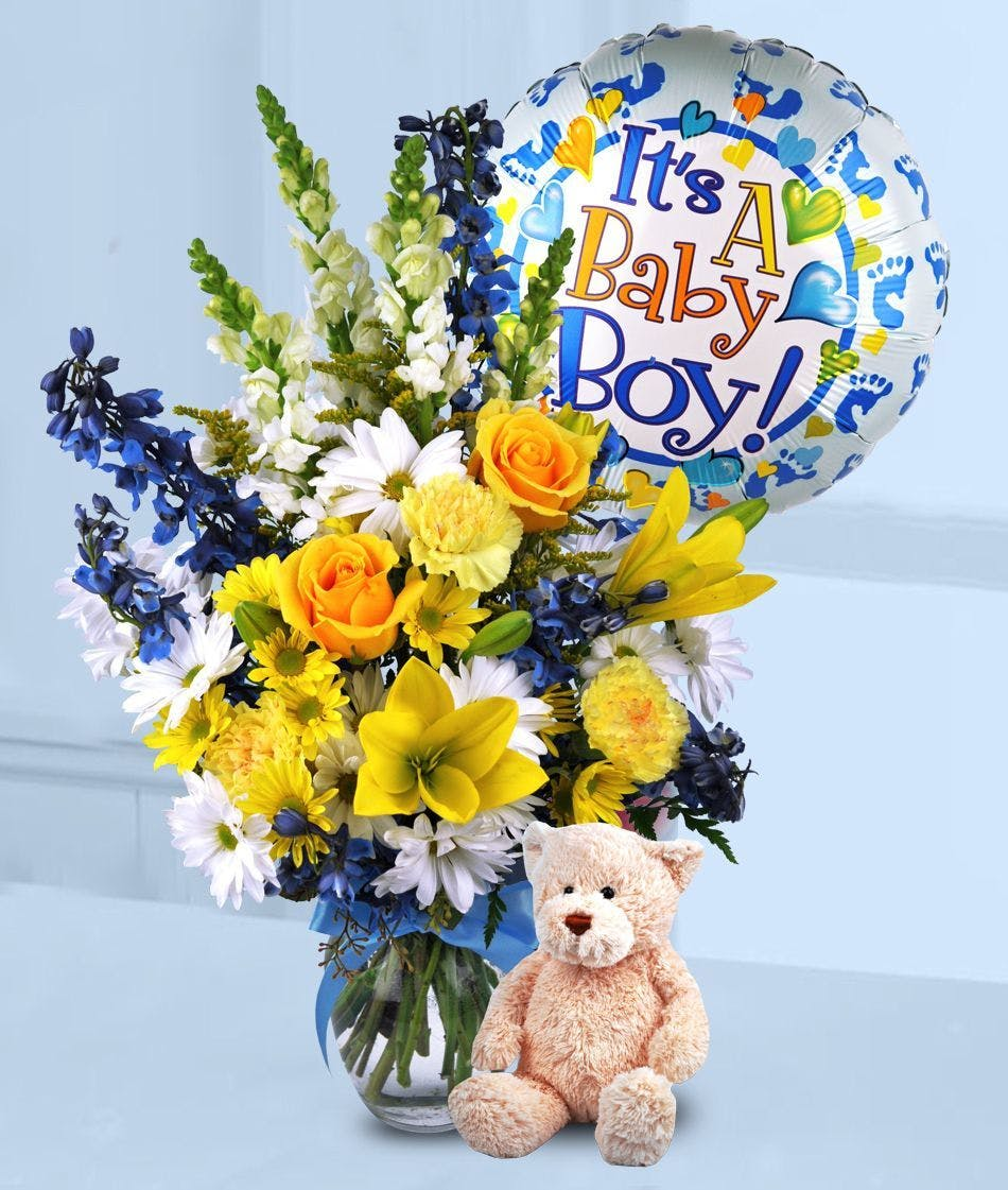 Baby Boy Surprise | New Baby Flowers & Balloon